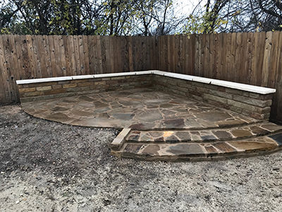 stone corner patio